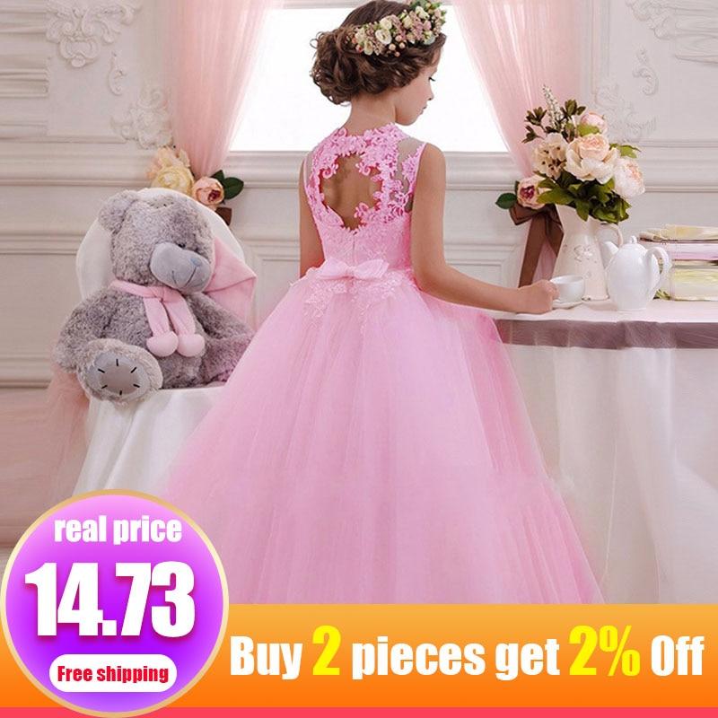 First Communion Dresses Girls Flower Dress Kids For Weddings Prom Clothing Kids Children Baby Elegant Ball Gown Fluffy Costume