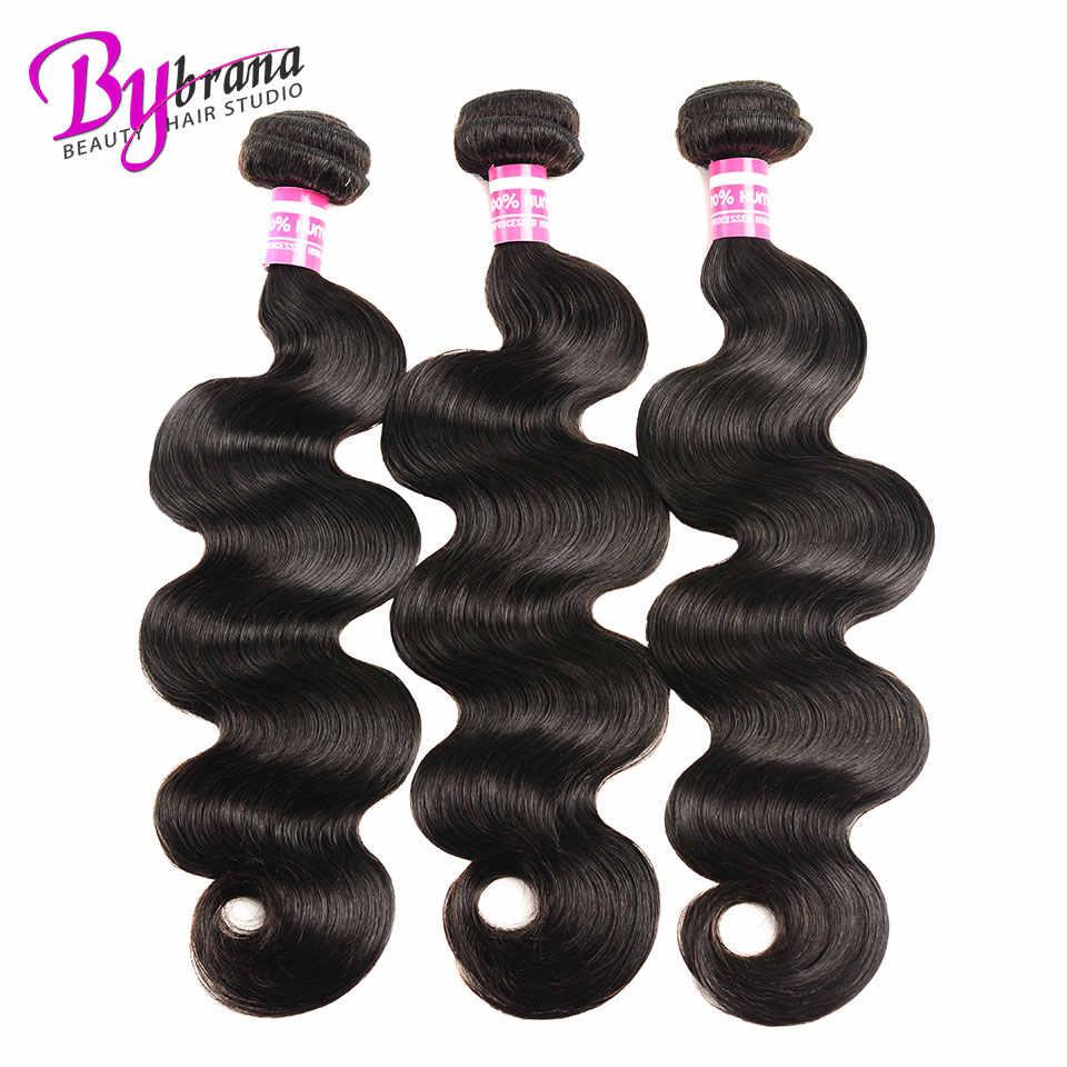 Bybrana бразильские пучки волос для тела с фронтальным кружевом Remy человеческие волосы 3 пучка и 13x4 дюймов закрытие фронтальной с пучками