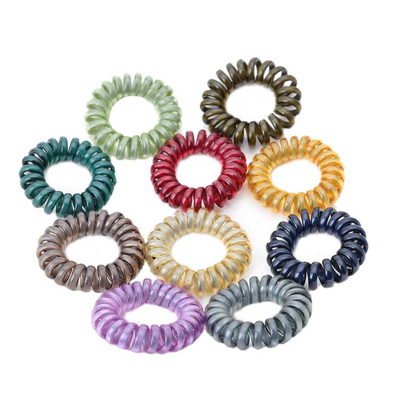 5pcs Telephone Wire Hair Bands Elastic Clear Plastic Spring Gum For Hair  Ties No Crease Coil 2c9c0732ff8