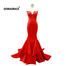 Doragrace robe de soiree V-Neck Sleeveless Mermaid Evening Dresses Red Prom Gowns Free Shipping