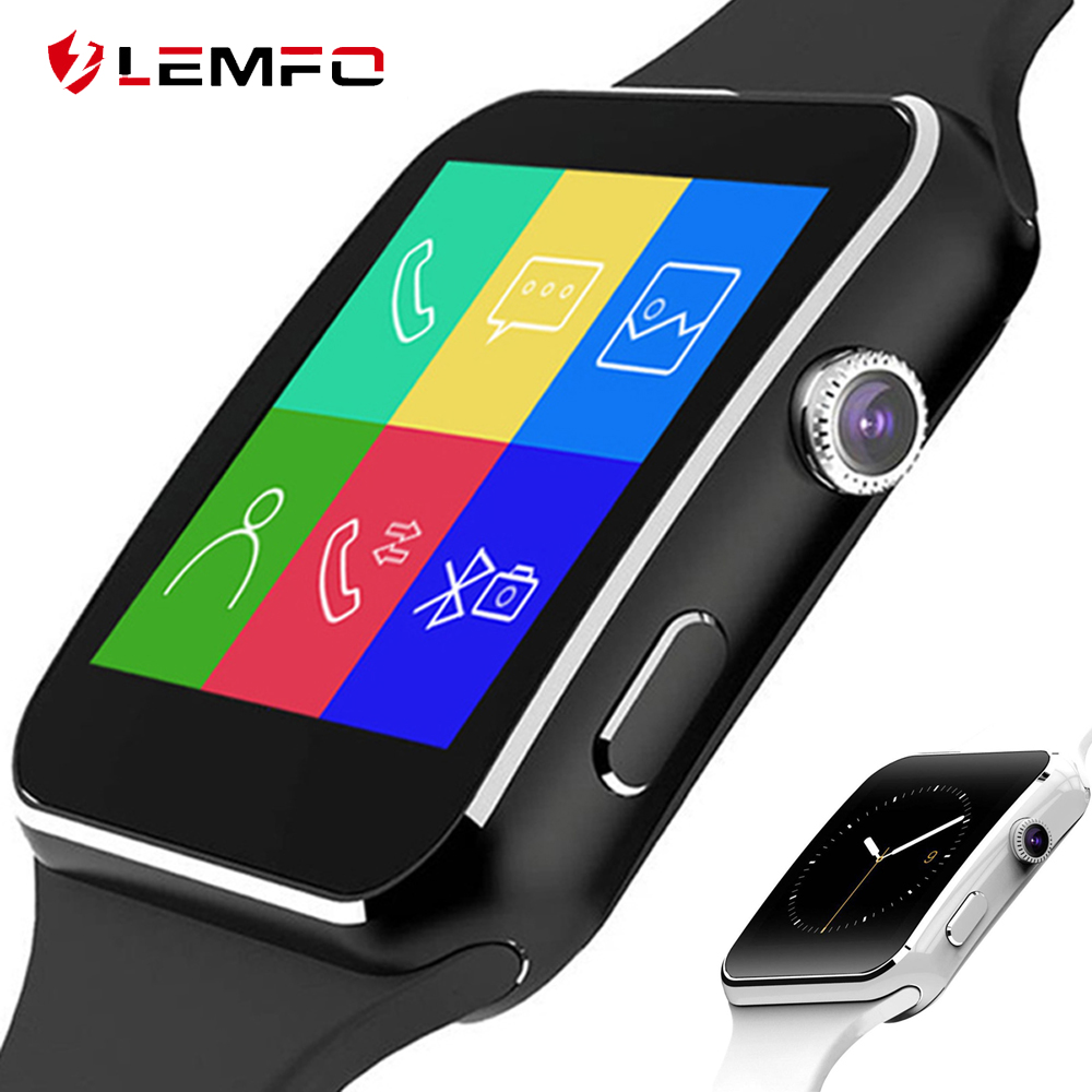LEMFO X6 Smart Watch Watches Phone Curved Screen Support SIM TF Card Smartwatch Men Bluetooth Clock for Android Smartphone