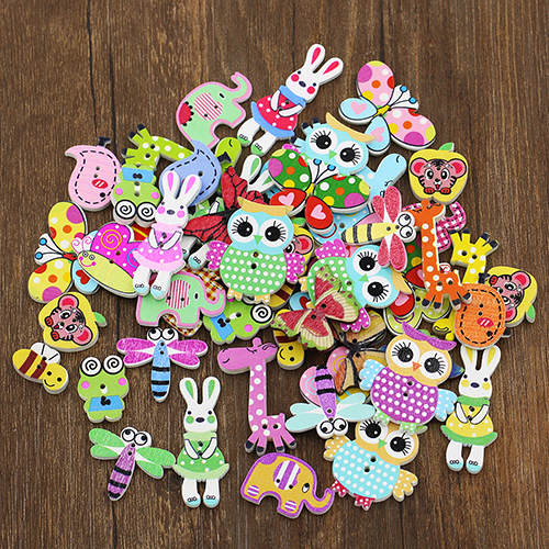50x Mixed Cartoon Animal 2 Holes Wooden Buttons Sewing