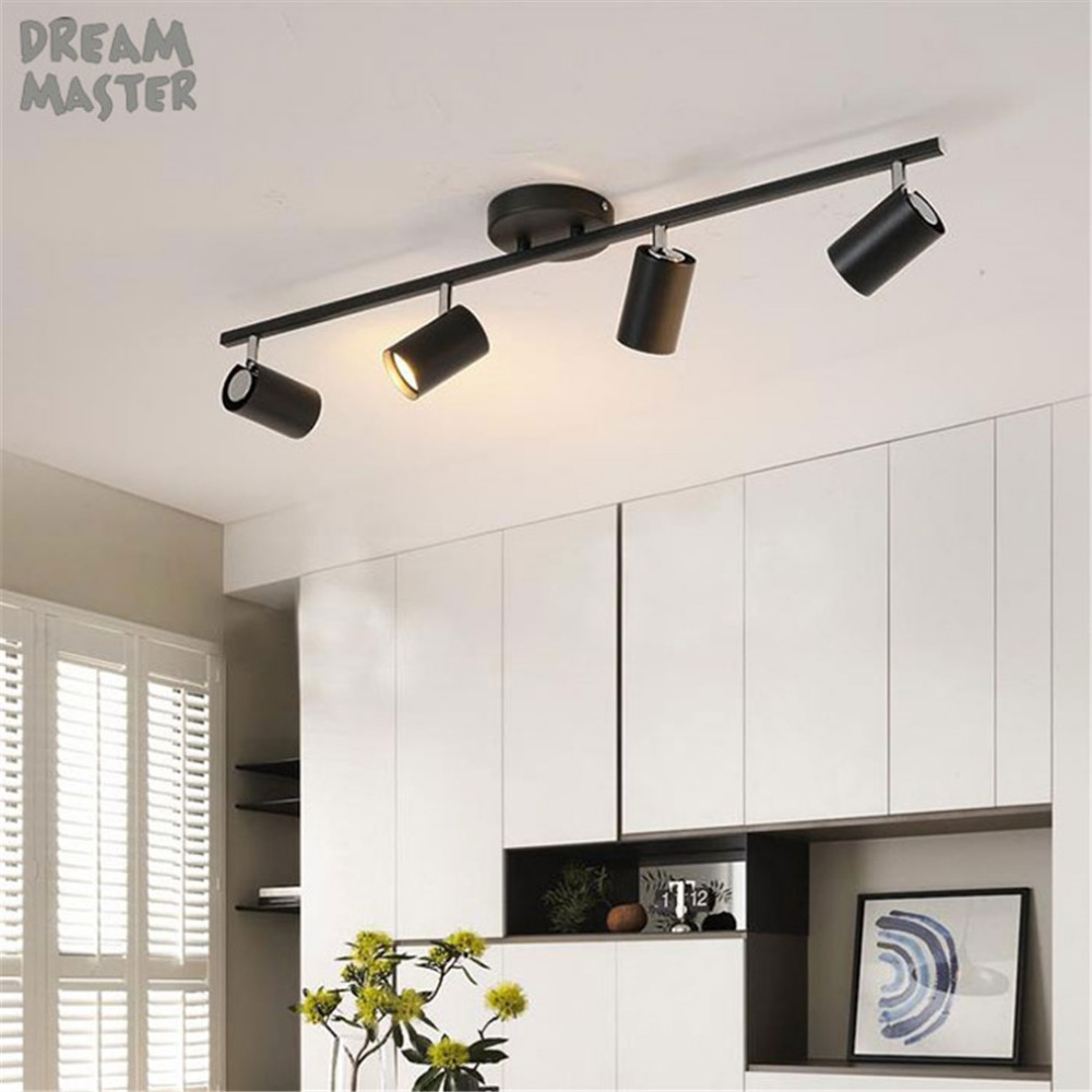 Black Track Lighting Kitchen: Industrial GU10 LED Track Light, Adjustable Led Track