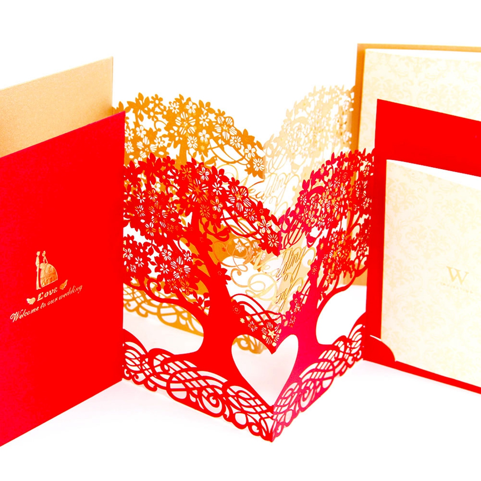 3D laser cut Mariage Blank Inner Side Wedding Invitations Cards Tree ...