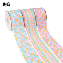 AHB 75MM Pink Grosgrain Ribbon Candy Mermaid Printed DIY Accessories Summer Decor Wedding Gift Wrap Handmade Materials