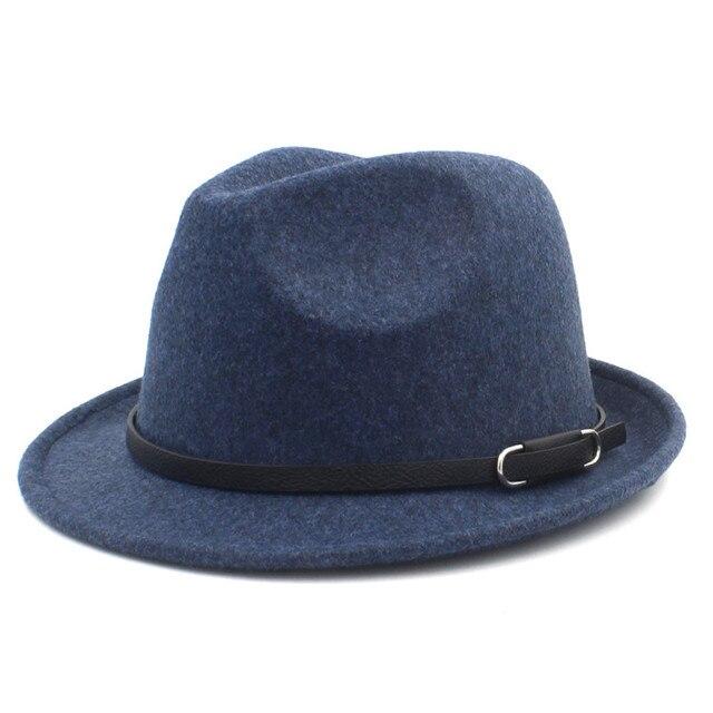 768ec045edd ... Classico100% Wool Women Men Fedora Hat For Winter Autumn Elegant Lady  Gangster Trilby Felt Homburg ...