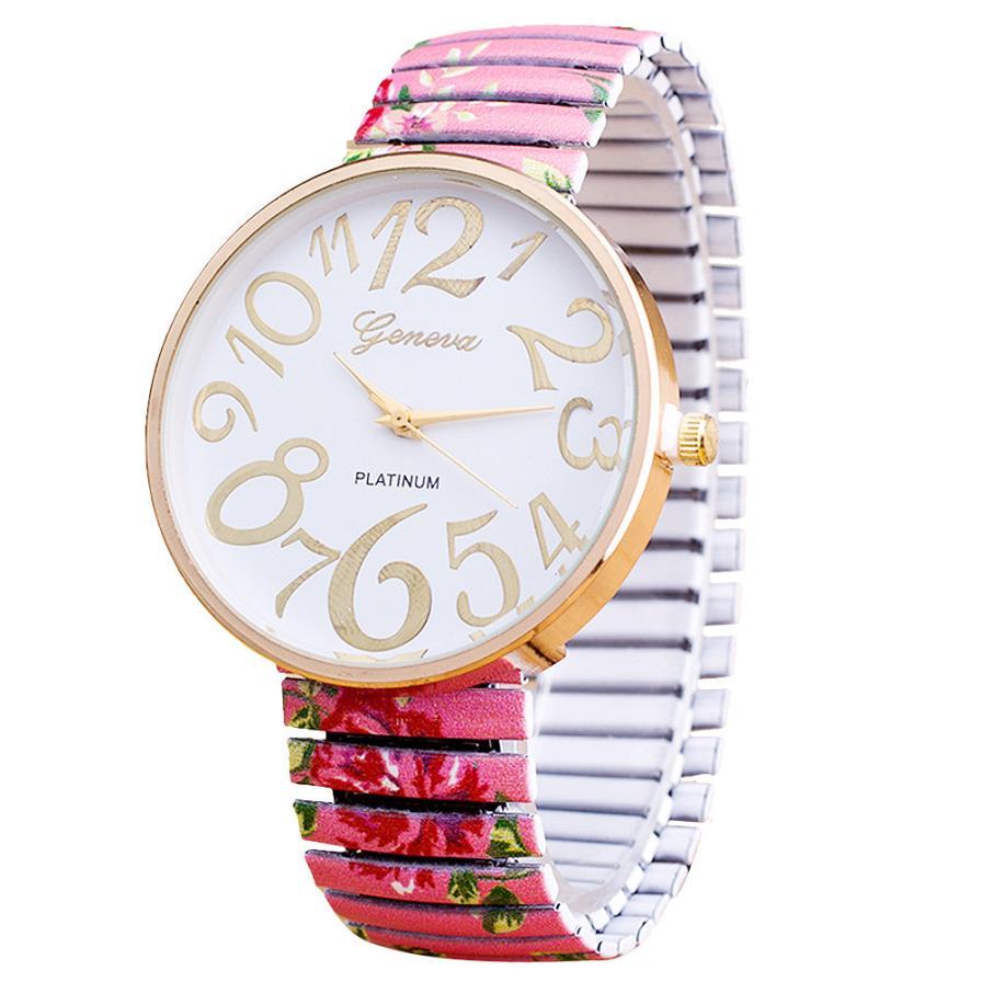 ⊱Las mujeres de lujo Retro flor pulsera reloj de las mujeres reloj ...
