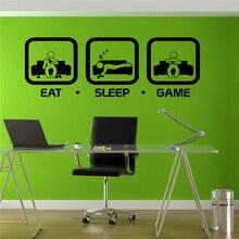Eat Sleep Game Wall Decal Gaming Joystick Playing Sticker Wall Decal Gaming Decor Gamer Ps4 Geek Wall Art Sticker # T428