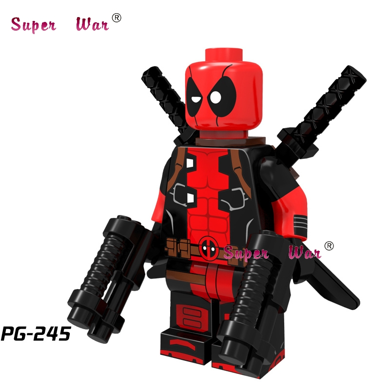 50pcs super heroes marvel comics model Dark Red Armed Deadpool building block bricks for kits kid