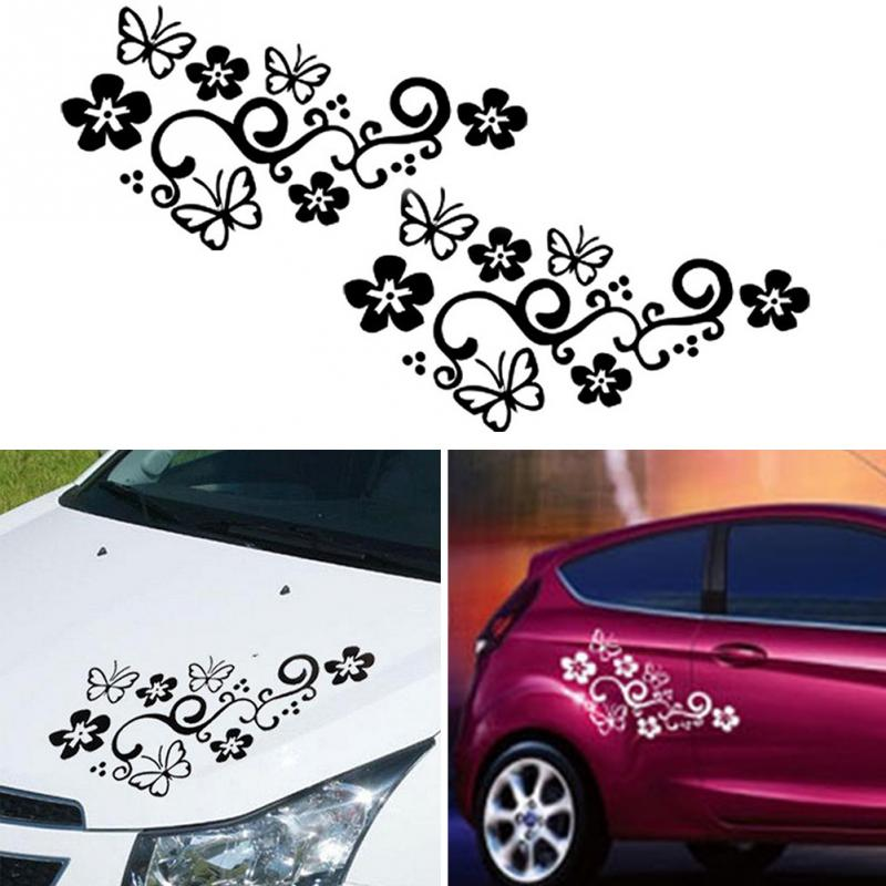 2Pcs Waterproof Universal Flower And Butterfly Car Body Sticker PVC For Auto Truck 47cm X 25cm