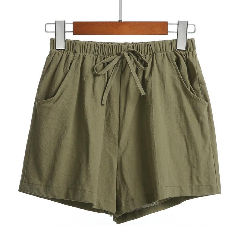Cotton Linen Short   Pants   Women High Waist Summer Plus Size Loose   Wide     Leg     Pants   Casual Short Trouser Korean Slim Sweatpants Lady