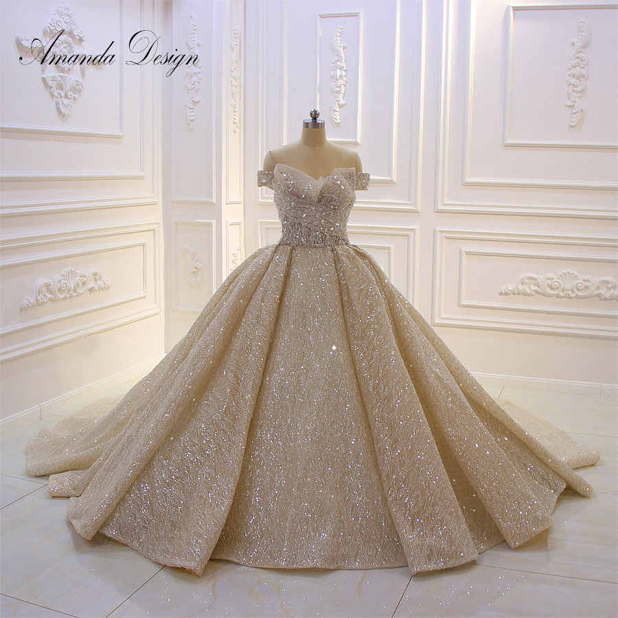 Amanda Design Top Quality Off Shoulder Pleated Champagne Shiny Luxury Wedding Dress