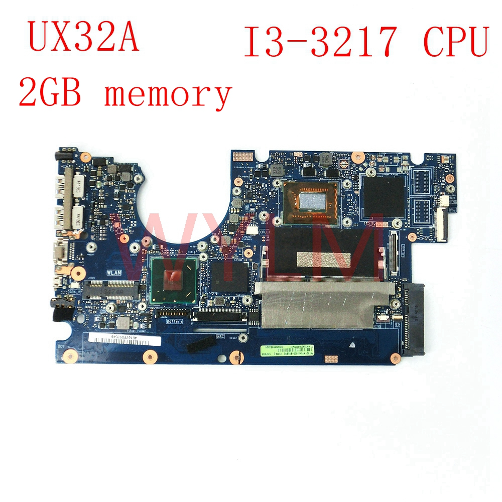 UX32A With I3-3217 CPU 2GB memory mainboard For ASUS UX32A UX32V UX32VD laptop motherboard Tested Working Well ux32a motherboard i3 cpu rev 2 1 for asus ux32a ux32vd laptop motherboard ux32a mainboard ux32a motherboard test 100% ok