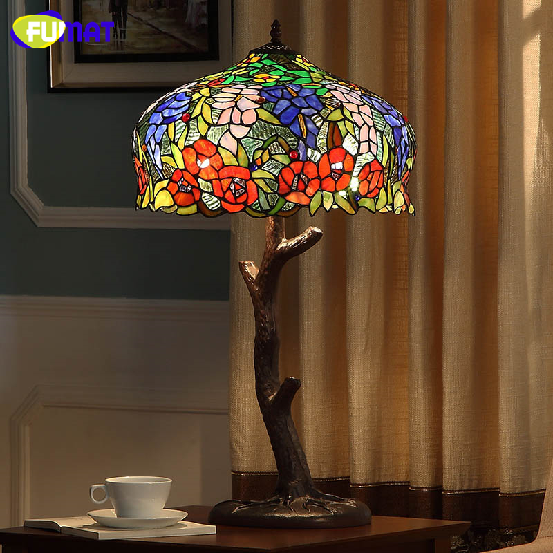 FUMAT European Style Living Room Bed Room Stained Glass Table Lamps Creative Art LED Wisteria Flowers Vintage Glass Table Lamp