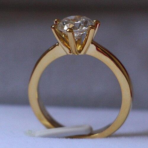 Блестящий 2Ct круглой огранки синтетический Diamant обручальное кольцо из желтого золота Цвет Настоящее стерлингового серебра 925 пасьянс кольцо
