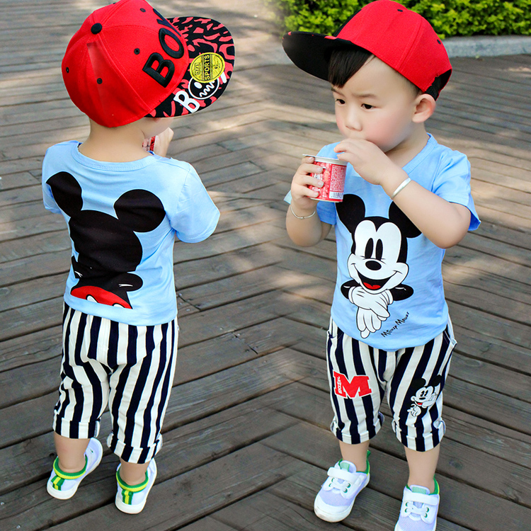 2018 new summer childrens clothing sets baby boy cloth cartoon Mickey short sleeve suit blue color two pcs boy cloth for 1T-5T