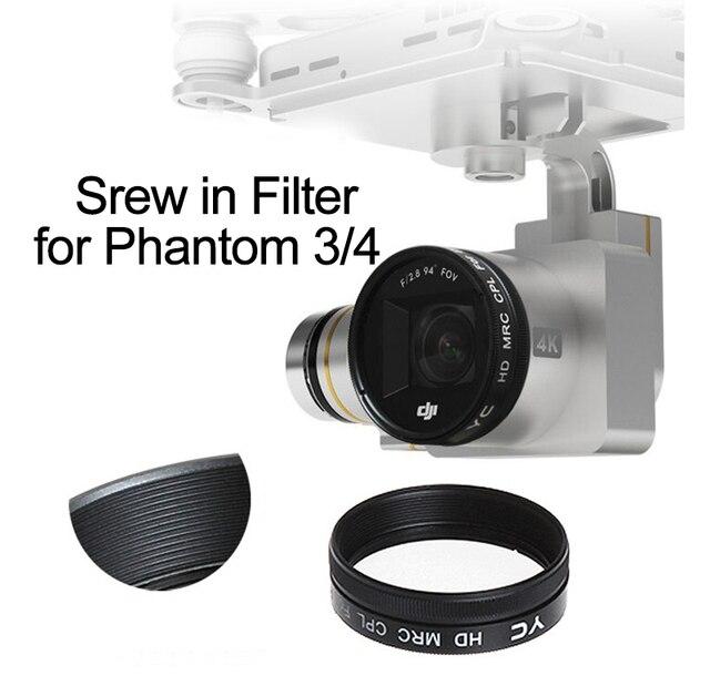 Screw on UV CPL ND4 ND8 ND16 ND2 400 Filter for DJI Phantom 3 Phantom 4 Drone Camera Lens Polarizing Neutral Density Spare Parts