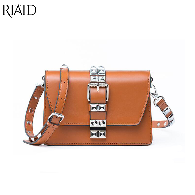 RTATD New Punk Style Women Split Leather Bags Chic Stud Design Flap Ladies Shoulder Bags Vintage Rock Rivet Crossbody Bag B195 free shipping 2017 new designers women leather bags handicraft rivet jacket punk style messenger bags shoulder crossbody bag go