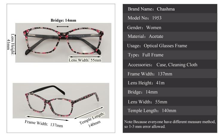 Chashma Brand Eyewear High Degree Use Men Optical Glasses lunette de vue  femme Designer Acetate Spectacle Frames for Women