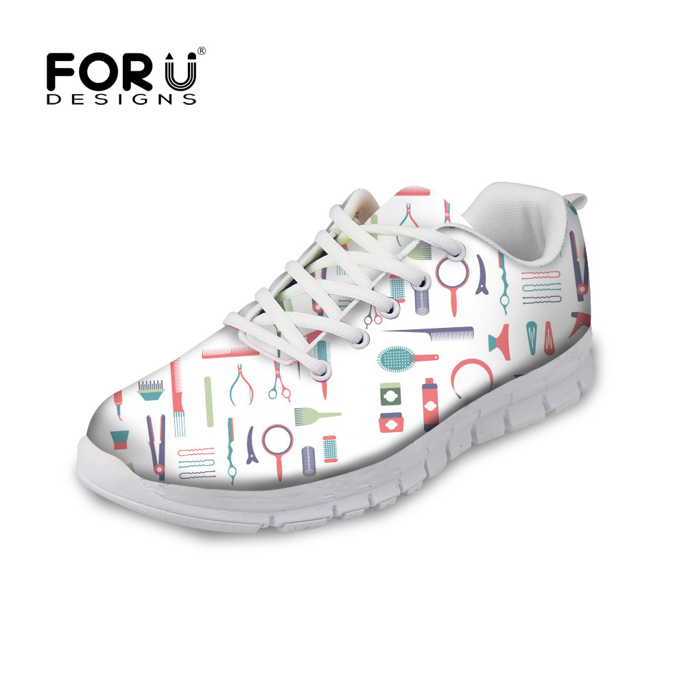 FORUDESIGNS Women Flats Ladies Shoes Hairdresser Cosmetologist 3D Printing Casual Breathable Womens White Shoes Sneakers Zapatos popular white cattle hide zip womens sneakers