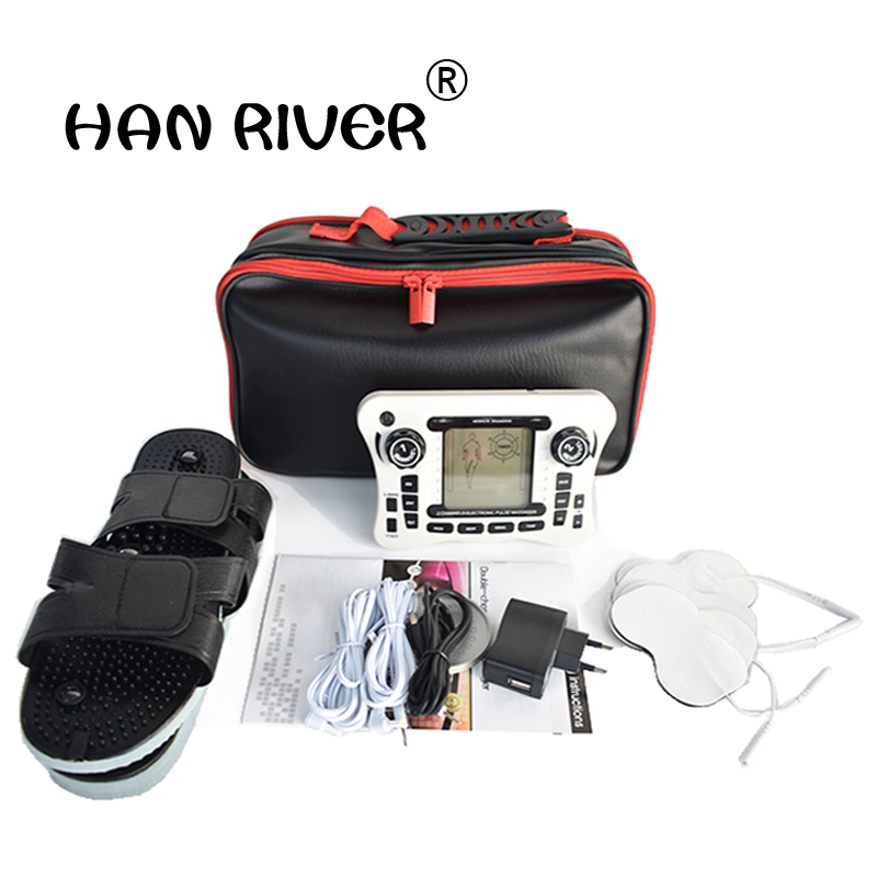 Dual channel pain relief nerve muscle tens electro stimulator body therapy massager physiotherapy apparatus foot massage