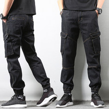 Japanese Style Fashion Men Jeans Vintage Design Black Color Loose Fit Big Pocket Cargo Pants Men Streetwear Hip Hop Jogger Jeans(China)