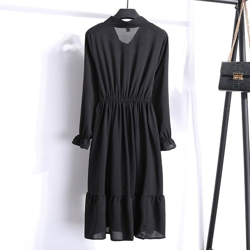 Korean Black Shirt Vestidos Office Polka Dot Vintage Autumn Dresses Women Winter Dress 19 Midi Floral Long Sleeve Dress Female 85