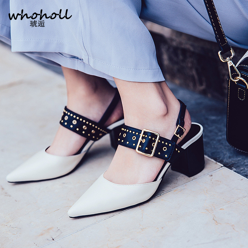 WHOHOLL 2018 Summer sandals women high heel sandals buckle strap red white black pointed toe sandals leather shoes women pumps fashion sexy women summer sandals gladiator black red solid sandals buckle strap nubuck leather thick heel sandals us size 5 9