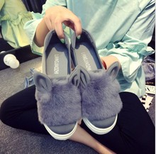 2016 New Designer Fashion Real Fur Shoes Woman Cartoon Ears Casual Shoes Female Low Cut Casuals Slip On Platform Leisures