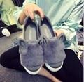 2016 Novo Designer de Moda Sapatos De Peles Reais Mulher Orelhas Dos Desenhos Animados Sapatos Casuais Femininas Sapatos de Corte Baixo Casuais Slip On Platform Lazeres