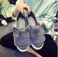 2016 Nuevo Diseñador de Moda de Piel Real Zapatos Mujer Orejas de Dibujos Animados Ocasional Zapatos Casuales Resbalón En Plataforma Femenino de Corte Bajo Ocios