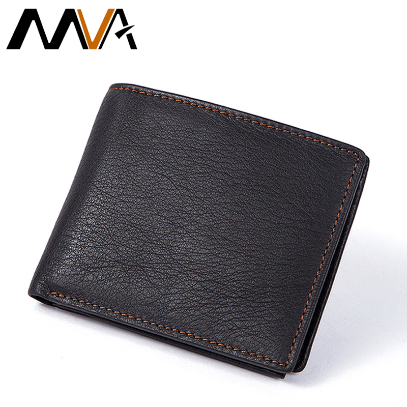 MVA Men Wallets with Zipper Coin Pocket Casual Coin Purse Genuine Leather Men Wallets Credit Card Holders Organizer Wallet fashion 2017 anime wallet with zip coin pocket movies breaking bad wallets men s trifold leather money bag purse id card holders