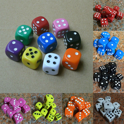 Beste Förderung 10 Pcs 16mm Mehrfarbige Acryl Runde Ecke Würfel 6 seitige Sterben Tragbare Tabelle Spiele Würfel