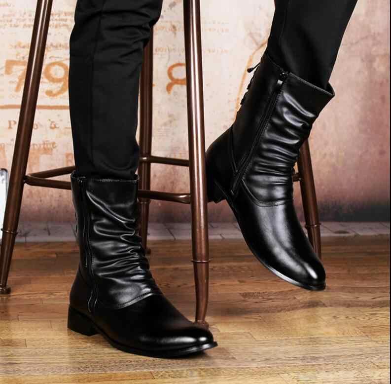 071814e88 ... JOZIGBEMA новые модные мужские ботинки пояса из натуральной кожи  повседневное молния острый носок до середины икры ...