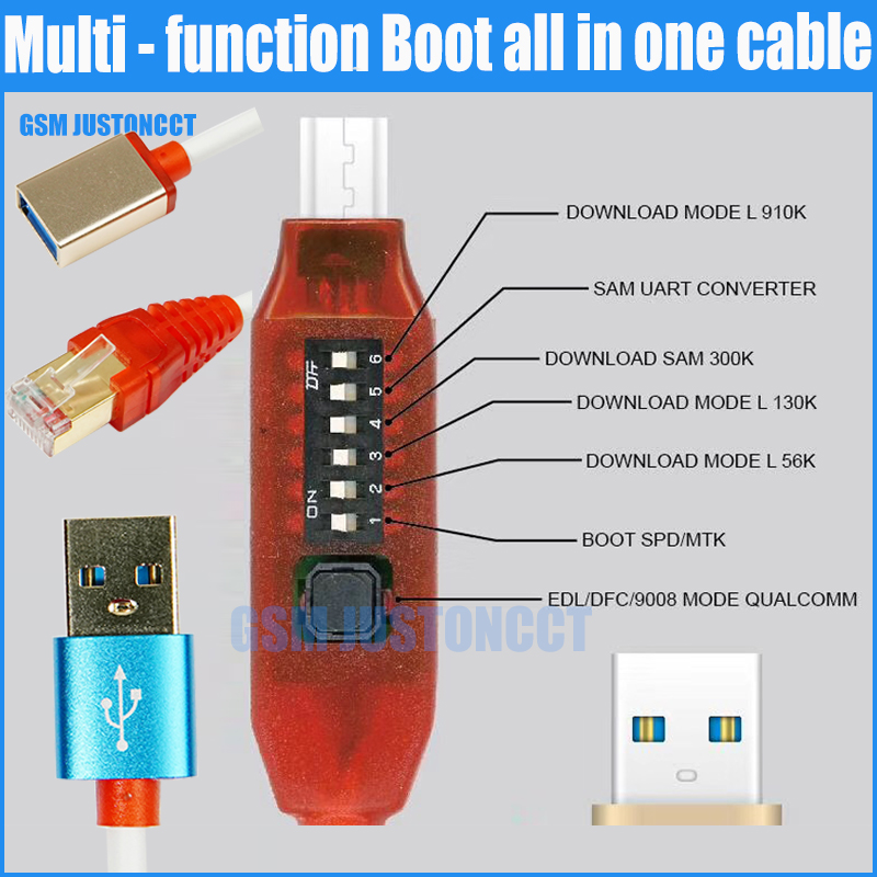 Tous les câbles de démarrage (commutation facile) Micro USB RJ45 tout en un câble de démarrage multifonction câble edl