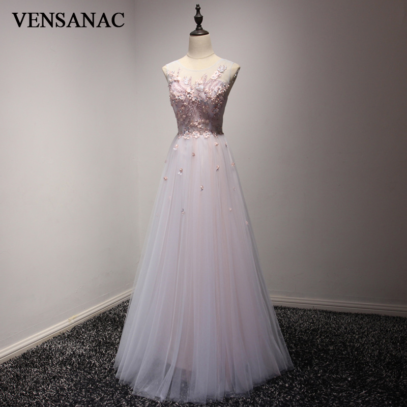 VENSANAC 2018 O Neck Lace Embroidery A Line Long   Evening     Dresses   Elegant Party Beadings Flowers Tulle Prom Gowns