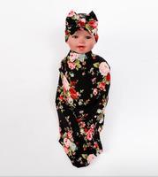 Infant Swaddle Set Newborn Top Bowknot Hat Wild Flower Photo Prop Hospital Set Baby Boy Girl