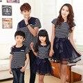 2017 Летом мать и дочь полосой платья детская одежда сопоставления семьи девочка мальчик одежды выглядят наряды отец и сын стиль
