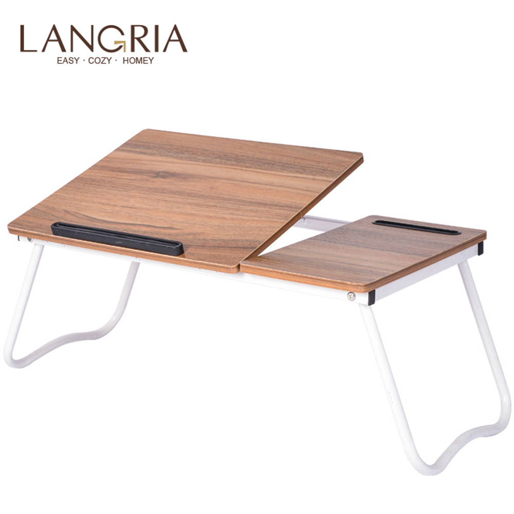 Portable Folding Notebook Table Adjustable Laptop Computer Desk With Mouse Board And Mobile Phone Slot Laptop Bed Table 64*36CM