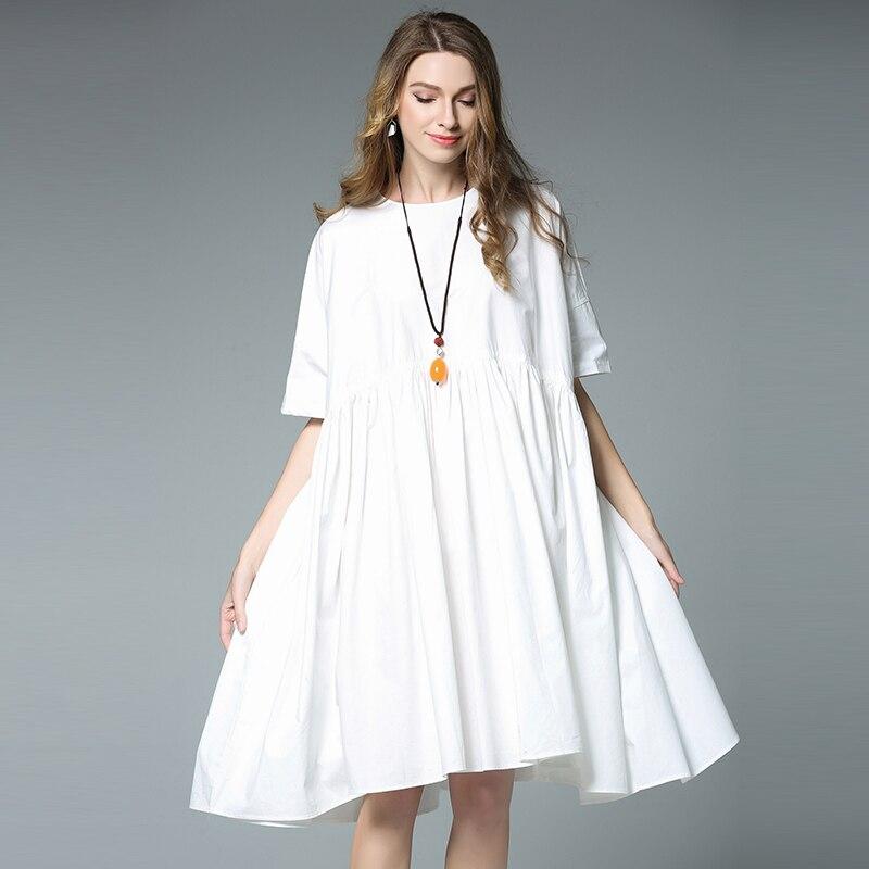 Plus Size Cotton Dress Women Summer Black White Oversized Loose ...