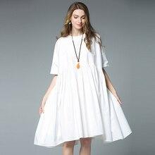 Plus Size Cotton Dress Women Summer Black White Oversized Loose Casual Pregnant  Dress 4xl Pregnancy Wear 1280470e9d0f