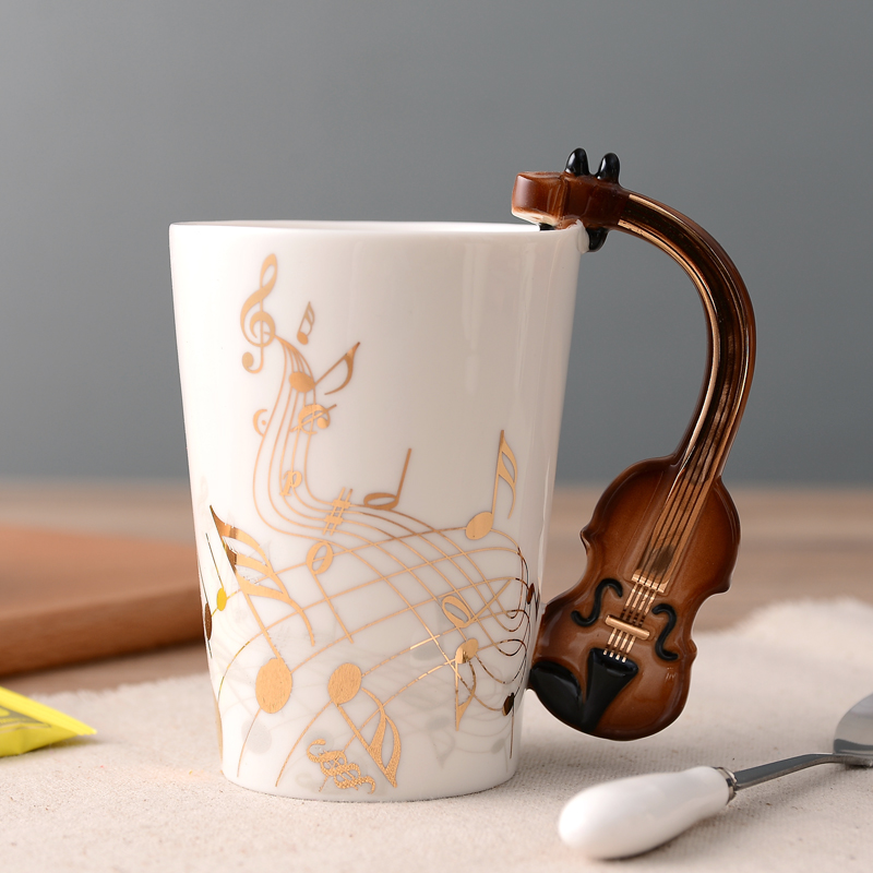 Wedding Gift Mugs: 250ml Tumbler Creative Mugs Electric Guitar Music Ceramic
