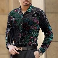 Green Immitate Silk See Throughs Shirt Hawaii Shirt Long Sleeve 2018 Autumn Hollow Out Mens Button party Shirts For Men