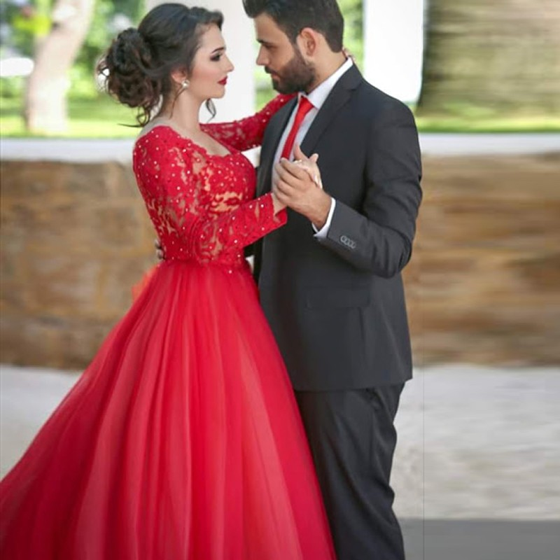 Online Get Cheap Plus Size Red Long Sleeve Lace Prom Dress ...