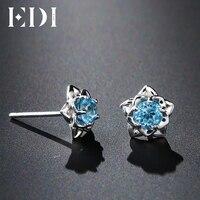 EDI 0.6 cttw Blue Topaz 925 Sterling Silver Stud Thời Trang Bạc Bông Tai Phụ Nữ Solitaire Tăng Vẻ Đẹp And The Beast Thiết Kế Fine đồ trang sức