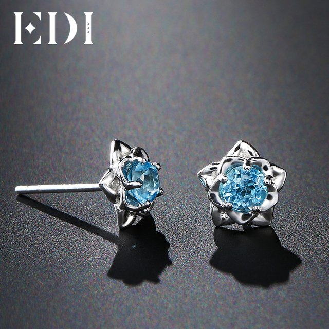 EDI 0.6cttw Blue Topaz 925 Sterling Silver Fashion Stud Earrings Women Solitaire
