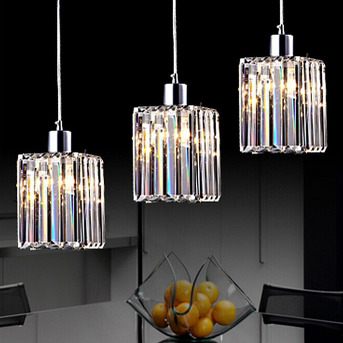 Modern Fashion K9 Crystal 1/3 Heads Led E27 Pendant Light For Dining Room Living Room Ac 80-265v 1130 modern fashion luxurious rectangle k9 crystal led e14 e12 6 heads pendant light for living room dining room bar deco 2239