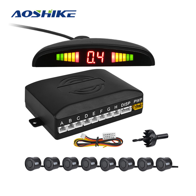 $ US $28.86 AOSHIKE Car LED Parking System Sensor with 8 Sensors Reverse Backup Car Parking Radar Monitor Display 22MM With Buzzer Front