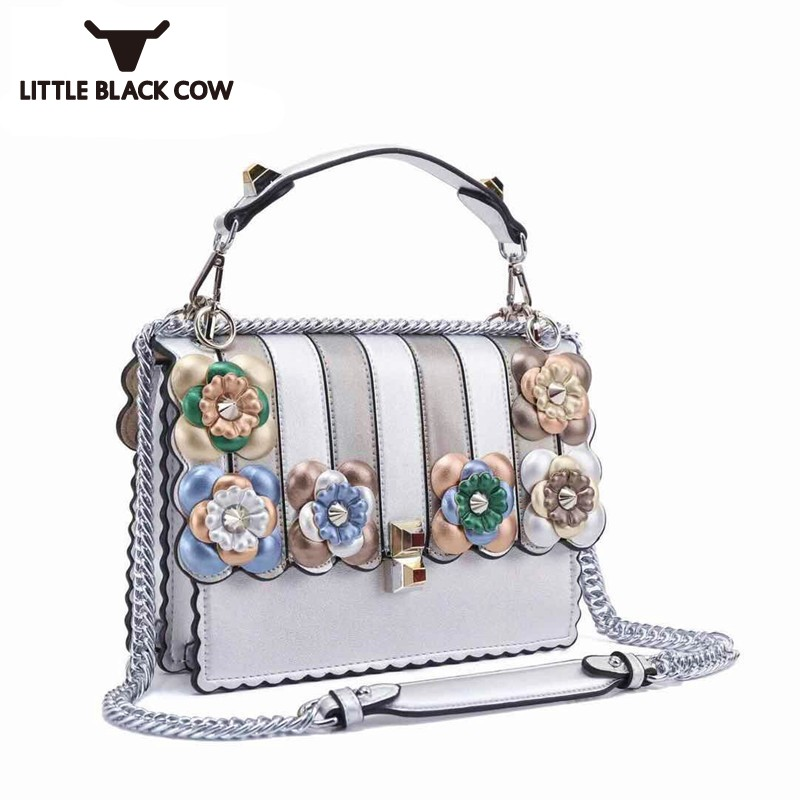 Latest Runway Show Colorful Flower Wavy Designer Handbag Luxury Brand New Leather Shoulder Bags Sling Chain Crossbody Bag
