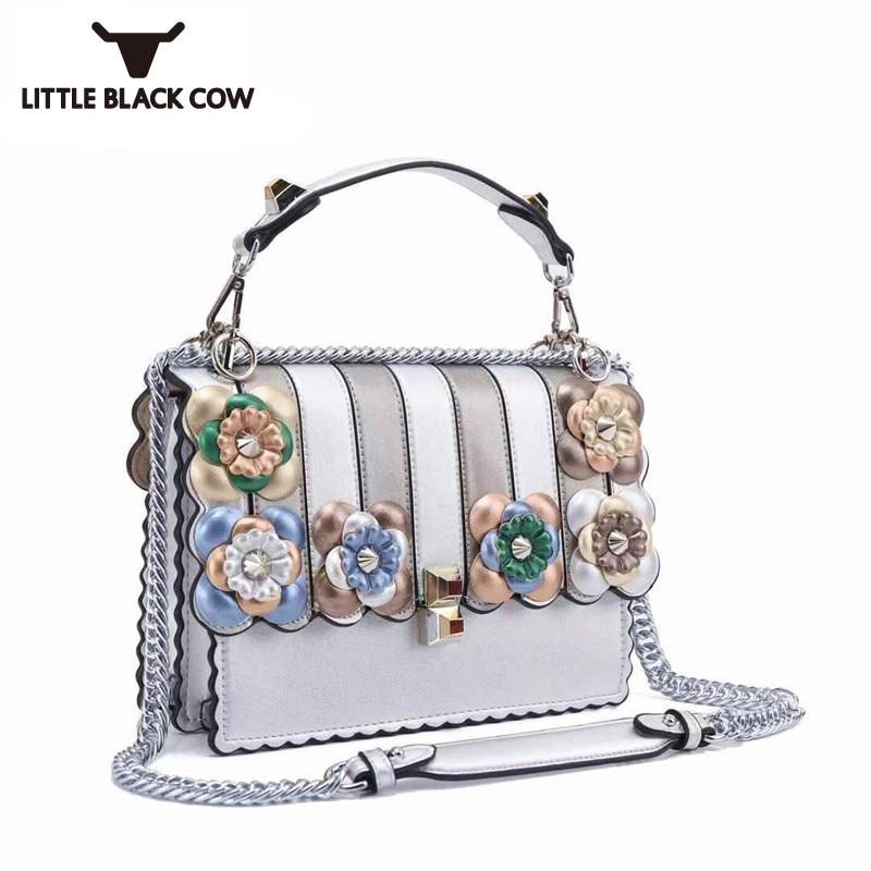 Latest Runway Show Colorful Flower Wavy Designer Handbag Luxury Brand New Leather Shoulder Bags Sling Chain Crossbody Bag